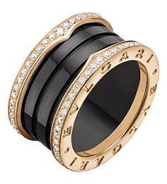 bvlgari fourband pinkgold black ceramic and diamond ring