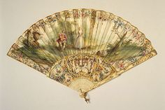 Vintage Fan: 18th Century French 1760 - skin mount painted in gouache with pastoral scenes, sticks of carved ivory, painted and gilded with gold leaf. by CharmaineZoe, via Flickr