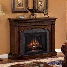 Technology superior and traditionally elegant, our beautiful Saranac Cherry Electric Fireplace is the perfect addition to any home! #kirklands #home #fireplace #cozy #livingroom