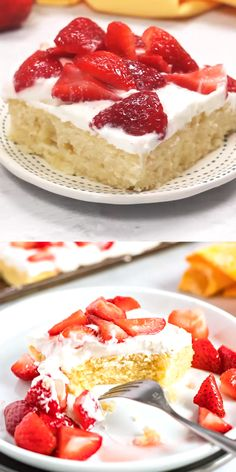 Slab Strawberry Shortcake - Instead of making individual shortcakes, make a slab cake big enough to feed a crowd topped with whipped cream and strawberries. desserts videos for a crowd SLAB STRAWBERRY SHORTCAKE Easy Vanilla Cake Recipe, Chocolate Cake Recipe Easy, Easy Cake Recipes, Homemade Chocolate, Baking Recipes, Strawberry Shortcake Recipes, Strawberry Desserts, Vanilla Cake With Strawberries, Lemon Strawberry Cake