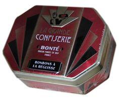 Confiserie Bonté Pinson, Frankrijk, 1860  suikersnoepjes met drop smaak in een mooi blik
