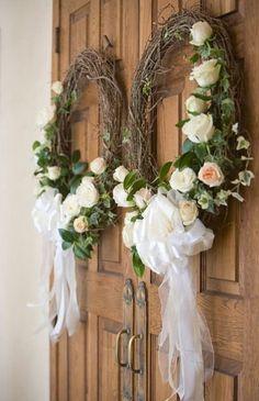 Elegant wedding ceremony decor idea - wreath on wedding ceremony doors {Blaine Siesser Photography}