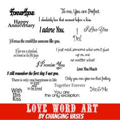 Valentines Day Love Word Art Collection 20 Quotes by ChangingVases, $5.00