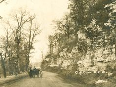 This postcard, mailed to Kansas resident Arthur Nohden, features a scene from Cliff Drive. Completed in the early 1900s, Cliff Drive offered a place for Kansas City residents to enjoy the natural landscape from the comfort of their buggies. Cars were originally forbidden to avoid frightening the horses, and even today can only travel on the boulevard on weekdays.  Missouri Valley Special Collections kchistory.org/u?/Mrs,788  Title: Cliff Drive  Description: Postcard of Cliff Drive  ...