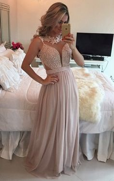 $169-2016 Pearl Pink Chiffon Long Prom Dresses Lace Pearls Illusion A-line Formal Evening Gowns