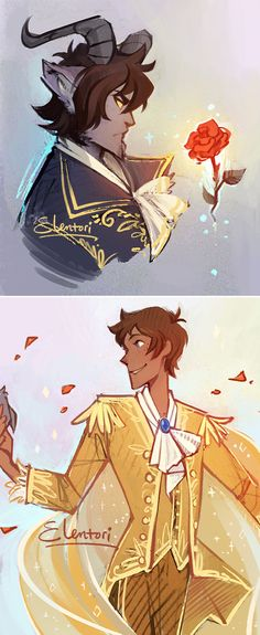 First draft of designs for my version of the Klance Beauty and the Beast au!