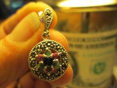 Vintage 925 Sterling Silver Genuine Ruby, Emerald & Sapphire Flower Cocktail Stud Earrings, Wt. 6.20 Grams