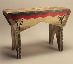 PETER HUNT-DECORATED STOOL In red, dark gray, yellow and black paint. Signed in pencil underneath.