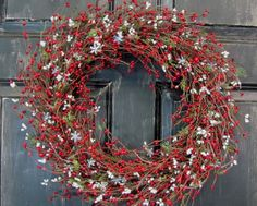 Red Pip Berry & Snowflake Wreath  Winter Decor by Designawreath, $58.95