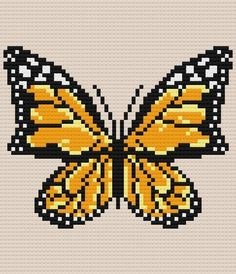 Monarch Butterfly Afghan Crochet Pattern Written Row by Cross Stitching, Cross Stitch Embroidery, Cross Stitch Patterns, Motifs Blackwork, Corner To Corner Crochet Pattern, Beading Patterns, Crochet Patterns, Modele Pixel Art, Butterfly Cross Stitch