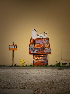 Kenny Random, street art in Padova, Italy. Snoopy doing a Banksy, Woodstock, black cats, Honest Abe with a spray can… it's all made of win.