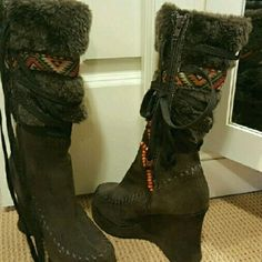 Chocolate Brown Boots High suede, fuzzy dark brown platform 3.75 in wedge. Aztec print accent band. Zip up with decorative bead lace. Beautiful leather contrast stitch on front and sides.  Fun, warm and comfy. Excellent condition! Like brand new but a few beads on decorative lace missing Dollhouse Shoes Heeled Boots
