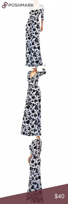 "$50 White Black Floral Faux Wrap Maxi Dress White Floral Half Sleeve Faux Wrap Maxi Dress  Made of stretch polyester Approx measurements are  Medium 18"" Waist 15"" Hips 20"" Large Bust 19"" Waist 16"" Hips 21"" Dresses Maxi"