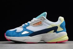 e4300bce309f9 WMNS adidas Falcon White Blue Yellow Red BB9178. Blue Yellow
