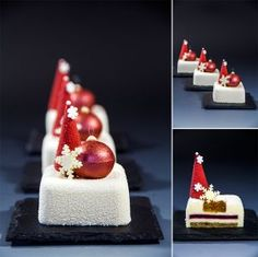 Nina Tarasova - The ChefsTalk Project-Christmas individual cakes the link is invalid, but thought it was a pretty idea. Christmas Sweets, Christmas Baking, Mini Cakes, Cupcake Cakes, Individual Cakes, Pastry Art, Dessert Decoration, Chocolate Decorations, Small Cake