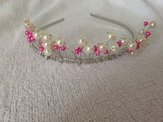 Pink beaded and pearl tiara on Etsy, £30.00