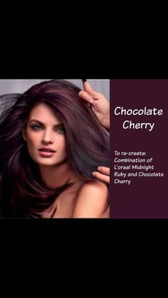 Hair Color Chocolate Cherry Combination Of L'oréal Midnight Ruby . Hair color chocolate cherry com Chocolate Cherry Hair Color, Cherry Hair Colors, Fall Hair Colors, Brown Hair Colors, Red Chocolate, Cherry Red, Cherry Coke Hair, Dark Cherry Hair, Long Hair Styles