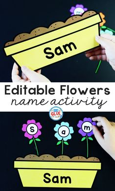 Flowers Editable Name Activity for Kids to Practice Building Their Name in a fun and hands-on way. Students will be engaged with this seasonal game. Name Activities Preschool, Fun Writing Activities, Letter Activities, Hands On Activities, Classroom Activities, Spring Activities, Kindergarten Literacy, Preschool Crafts, Toddler Activities