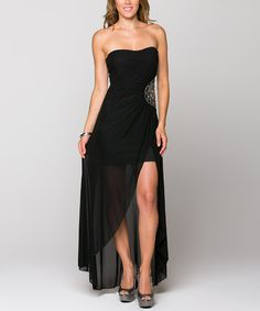 Loving this La Scala Black Beaded-Medallion Strapless Dress on #zulily! #zulilyfinds