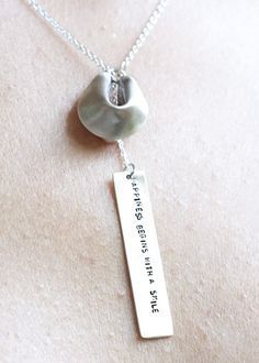 silver fortune cookie necklace