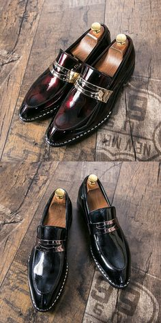 US $25.4 <Click to buy>  Prelesty Gentlemen Men Formal Shoes Business Patent Leather Dress Footwear Bridal