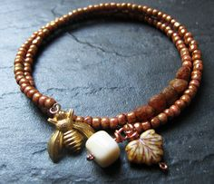 Rustic Hybrid Rose Gold  Bumble Bee Picasso Seed Bead by Grubbi, $10.00