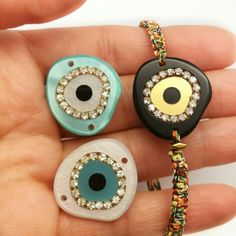 """Your favorite """"glam"""" evileye in a new boho cord!ask for it and keep bad vibes away! Greece Holiday, Eye Painting, Evil Eye, Washer Necklace, Cord, Jewellery, Trending Outfits, Unique Jewelry, Handmade Gifts"""