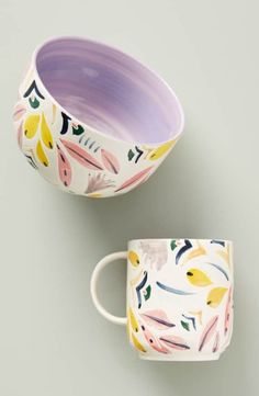 pottery painting ideas Anthropologie Mathilde Mug Stoneware Mugs, Ceramic Plates, Ceramic Pottery, Pottery Art, Pottery Mugs, Pottery Painting Designs, Pottery Designs, Painted Mugs, Hand Painted Ceramics