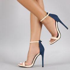 Beige and Denim Ankle Strap Sandals 4 Inch Heels Stilettos, Stiletto Heels, High Heels, Blue Heels, High Boots, Ankle Straps, Ankle Strap Sandals, Me Too Shoes, Designer Shoes