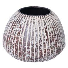 Pot en céramique de couleur blanc t brun 9x6.5''