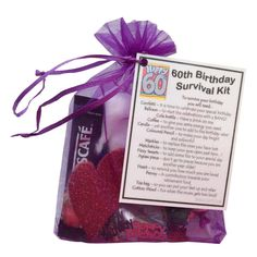 60th Birthday Gift - Unique Novelty survival kit - Great alternative to a card (Purple): Amazon.co.uk: Office Products