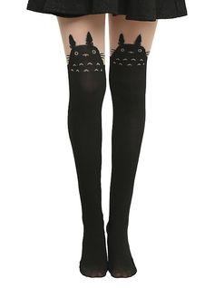 WANTT!!!! Studio Ghibli My Neighbor Totoro Faux Thigh High Tights, BLACK