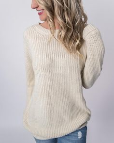 4aaad91e13c ivory ribbed knit long sleeve pullover sweater Tunic Sweater