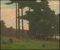 """Charles Warren Eaton (1857-1937).   Pines at Sunset. Circa 1910-1920.    Oil on canvas. 20 x 24"""""""