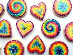 Rainbow tie dye cookies! Get the tutorial here: http://www.sweetambs.com/tutorial/rainbow-tie-dye-cookies/