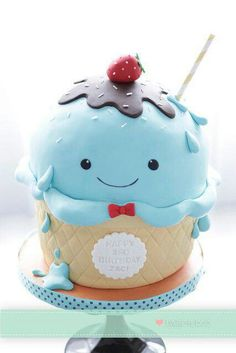 One cute Ice cream cake by Bake-a-boo Cakes NZ awww this is sooo cute :) Pretty Cakes, Cute Cakes, Beautiful Cakes, Yummy Cakes, Amazing Cakes, Crazy Cakes, Fancy Cakes, Bake A Boo, Rodjendanske Torte