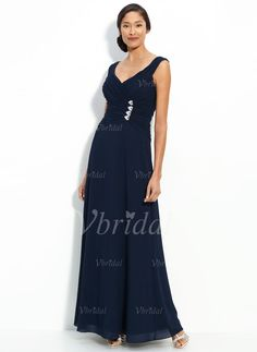 Mother of the Bride Dresses - $126.99 - A-Line/Princess V-neck Floor-Length Chiffon Mother of the Bride Dress With Ruffle Beading (00805007045)