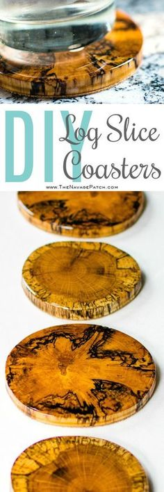 DIY Log Slice Coasters   How to make coasters from logs   Upcycled logs to DIY wooden coasters   How to stop coasters sticking to glasses   Perfect use of cabochon   How to use epoxy resin   Step-by-step epoxy resin coaster tutorial   Epoxy resin tips   Easy and budget friendly home decor   Simple woodworking   Before & After   TheNavagePatch.com