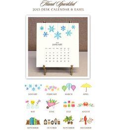 Glittered 2015 Desk Calendar & Easel #HolidayGiftIdeas #ChristmasGiftIdeas