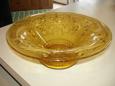 Tiara Amber, larger footed bowl