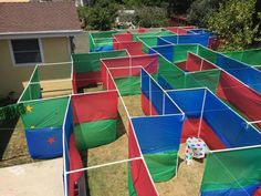DIY maze....made from PVC pipe and cheap table cloths...looks like so much fun!