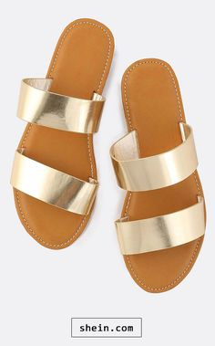e4ebe65d5884 Metallic Duo Strap Sandals GOLD Gold Shoes