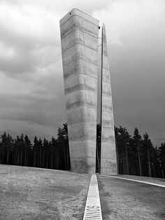 Nebra Observation Tower by Holzer Kobler Architekturen // Divided by a vertical crevice extending over its full height to mark the summer solstice, functioning as a solar calendar.