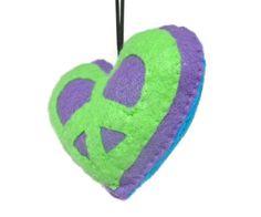 Peace & love felt ornament <3