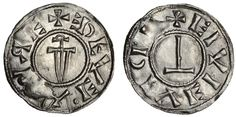 Hiberno-Norse Vikings, Sihtric Caoch (921-927), Penny, 1.08g, Circumscription or anonymous sword type, mint south of the Humber, probably Lincoln, +edeveahre, sword with spine placed vertically across field, the pommel pointing towards the initial cross, rev. eivievic[.] Thor's hammer placed vertica