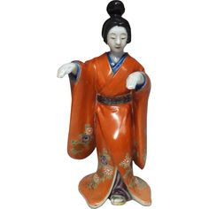 Japanese Rare Antique Porcelain Okimono/ Statue of 舞妓 Maiko of Beautiful Woman (Bijin) from the Many Faces of Japan on Ruby Lane