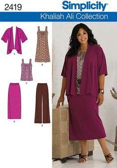 Womens pants, skirts, dress Plus Size patterns 2419 Khaliah Ali for Simplicity
