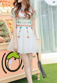 Dotted Colorful Embroidery Abstract White Short Sleeve Dress