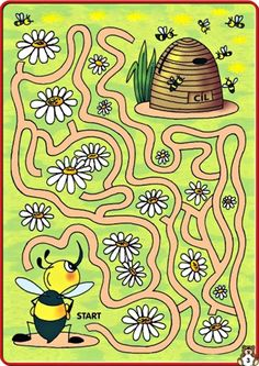 Fall Preschool Activities, Indoor Activities For Kids, Maze Worksheet, Insect Crafts, Mazes For Kids, Kids Math Worksheets, Animal Crafts For Kids, Interactive Learning, Bee Theme