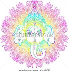 Hindu Lord Ganesha over ornate mandala pattern. Vector illustration. Vintage decorative. Hand drawn paisley background. Indian motifs. Tattoo, yoga, spirituality. Rainbow vibrant Gradient over white.